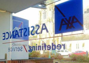 Axa window vinyl signage