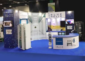 Blue Helix custom built exhibition stand