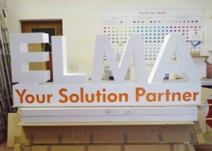 Exhibition stand signage for Elma