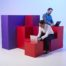Models amongst vividly coloured cubes for Foehn photoshoot
